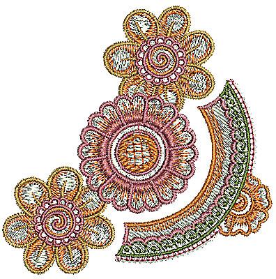 Embroidery Design: Henna corner flower design 2 3.16w X 3.14h