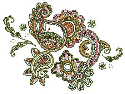 Embroidery Design: Henna design floral 1 6.50w X 4.81h