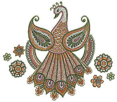 Embroidery Design: Henna bird floral design 5.70w X 5.00h