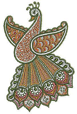 Embroidery Design: Henna bird 32.85w X 4.44h