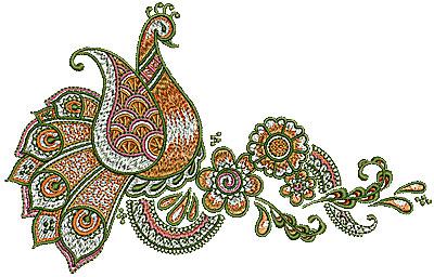 Embroidery Design: Henna bird floral design 2 6.89w X 4.40h