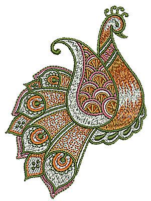Embroidery Design: Henna bird 5 3.24w X 4.40h