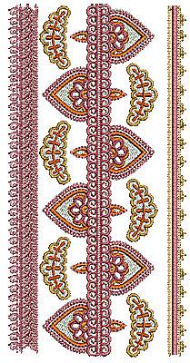 Embroidery Design: Henna border 1 3.43w X 6.89h