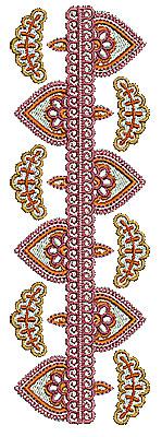Embroidery Design: Henna border design 1 2.30w X 6.89h
