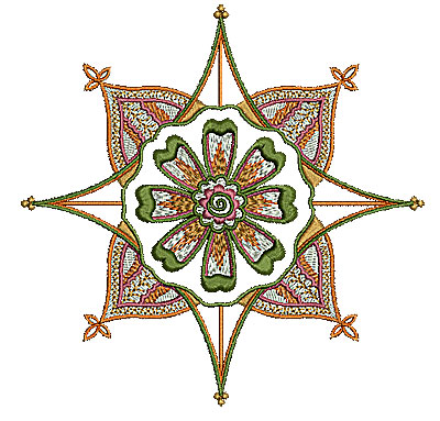 Embroidery Design: Henna flower 3 5.46w X 5.43h