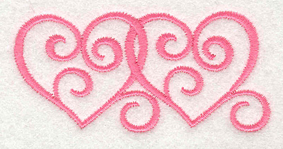 Embroidery Design: Swirly Hearts 13.04w X 1.46h
