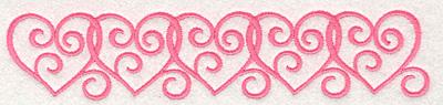 Embroidery Design: Swirly Heart Border7.00w X 1.46h