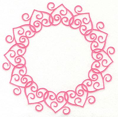 Embroidery Design: Swirly Heart Circle 6.95w X 6.95h