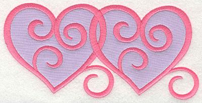 Embroidery Design: Swirly Hearts 2 applique7.00w X 3.36h