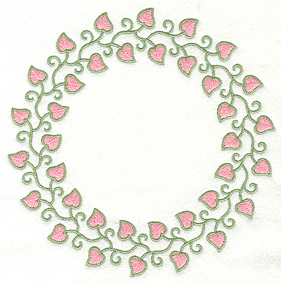 Embroidery Design: Fancy Heart Vine Circle7.04w X 7.01h