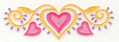 Embroidery Design: Heart Motif 1 Large5.00w X 1.65h