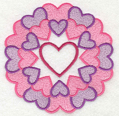 Embroidery Design: Circle of Hearts with Heart in Middle3.59w X 3.66h