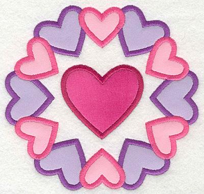 Embroidery Design: Heart Circle Colorful Small applique5.19w X 5.00h