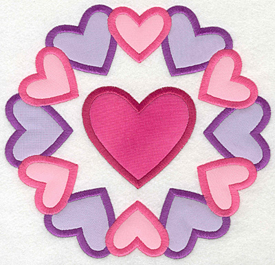Embroidery Design: Heart Circle Colorful Large applique7.25w X 7.00h
