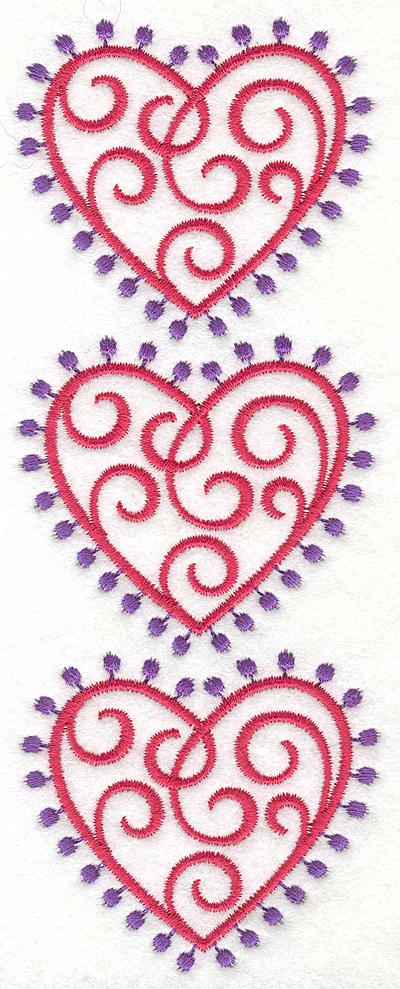 Embroidery Design: Fashion Hearts Vertical2.59w X 6.85h
