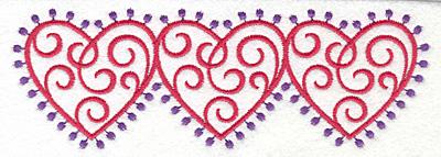 Embroidery Design: Fashion Hearts Horizontal6.77w X 2.30h