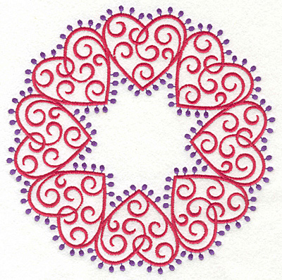 Embroidery Design: Fashion Hearts Circle6.85w X 6.85h