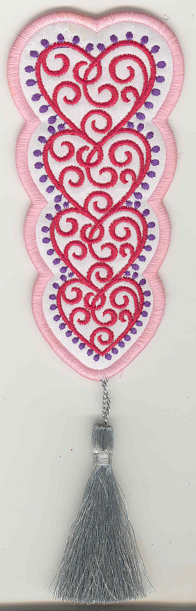 Embroidery Design: Fashion Hearts Bookmark applique5.42w X 2.63h