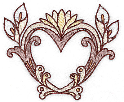 Embroidery Design: Heart with calla lily large 4.96w X 4.17h