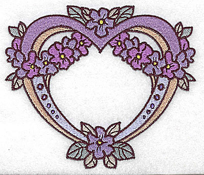 Embroidery Design: Heart with floral wreath large 4.97w X 4.28h