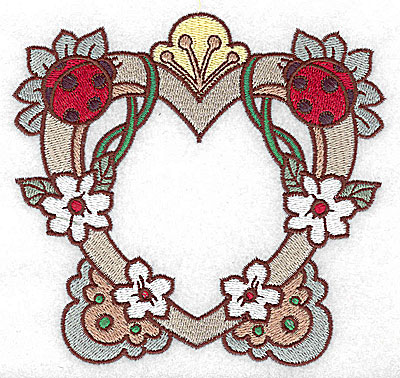Embroidery Design: Heart with ladybugs large 4.97w X 4.71h