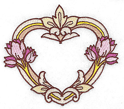 Embroidery Design: Heart with tulips large 4.95w X 4.34h