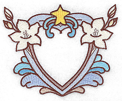 Embroidery Design: Heart with lilies large 4.96w X 3.96h