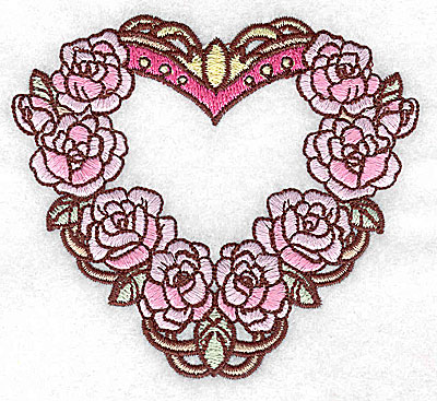 Embroidery Design: Heart with roses small 3.87w X 3.49h