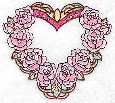 Embroidery Design: Heart with roses large 4.95w X 4.47h