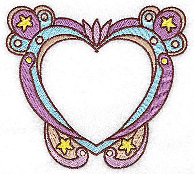 Embroidery Design: Heart with stars large 4.96w X 4.51h