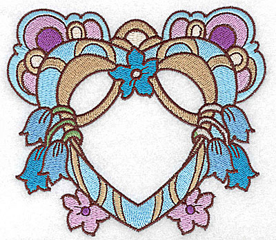 Embroidery Design: Heart with tulips and blossoms large 4.94w X 4.37h