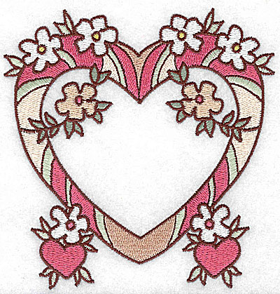 Embroidery Design: Heart with flowers and hearts large 4.77w X 4.96h