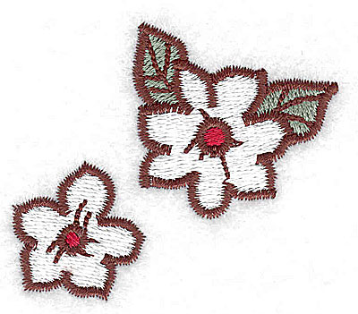 Embroidery Design: Double blossoms 2.34w X 2.01h
