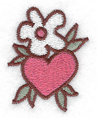Embroidery Design: Blossom with heart 1.56w X 2.02h