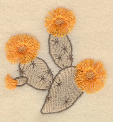 Embroidery Design: Prickly Pear Cactus fringe 3.57w X 3.84h