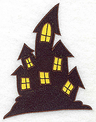 Embroidery Design: Haunted house double applique 3.85w X 3.86h