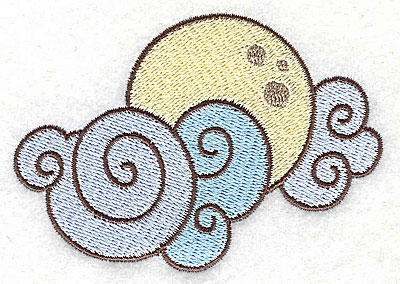 Embroidery Design: Moon and clouds   3.53w X 2.46h