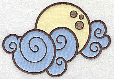 Embroidery Design: Moon and clouds double applique  6.96w X 3.85h