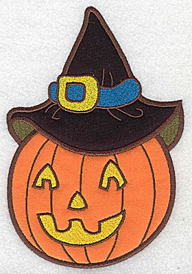 Embroidery Design: Pumpkin wearing witch hat applique 2.37w X 3.52h