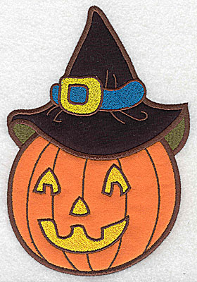 Embroidery Design: Pumpkin wearing witch hat double applique 6.93w X 4.71h