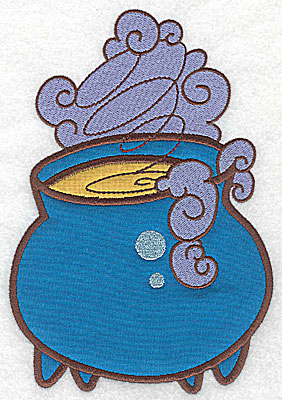 Embroidery Design: Witches cauldron double applique 6.92w X 4.78h