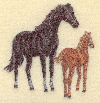 Embroidery Design: Mare with Colt Small3.30w X 3.51h