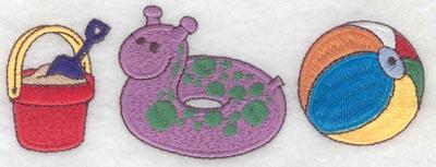 Embroidery Design: Border pail inner tube beach ball large5.71w X 2.08h