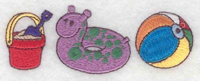 Embroidery Design: Border pail inner tube beach ball small3.91w X 1.39h