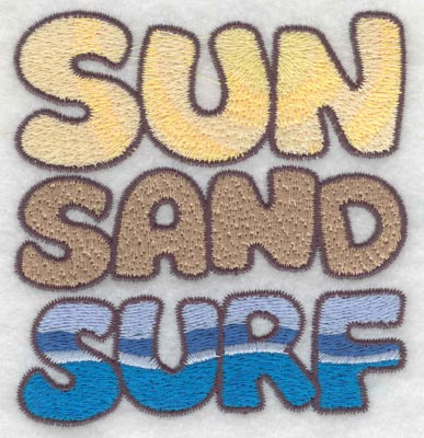 Embroidery Design: Sun sand surf text3.43w X 3.61h