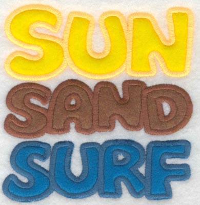 Embroidery Design: Sun sand surf applique5.01w X 5.28h