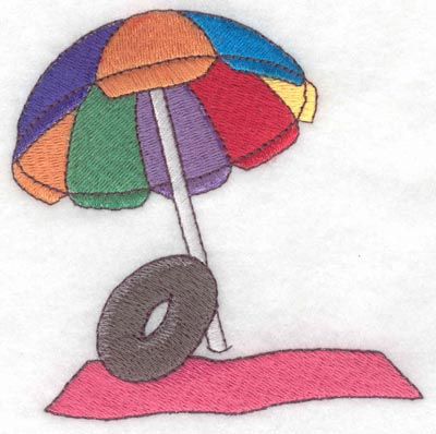 Embroidery Design: Beach blanket with umbrella3.90w X 3.89h