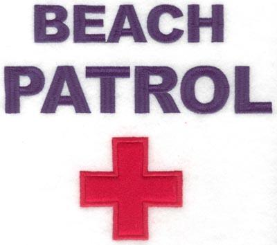 Embroidery Design: Beach patrol applique7.49w X 6.59h