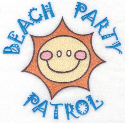 Embroidery Design: Beach party patrol large7.00w X 6.93h