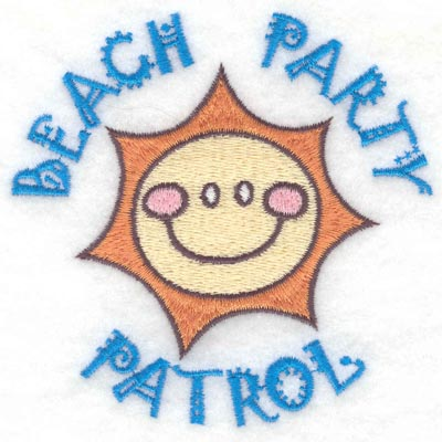 Embroidery Design: Beach party patrol small3.81w X 3.76h